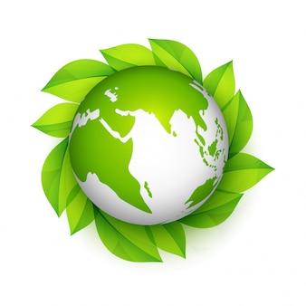 Glossy Earth Globe com folhas verdes.