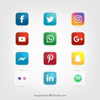 Glossy mídia social conjunto ícones vetor