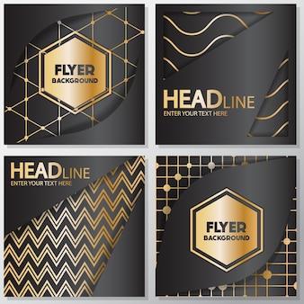 Golden lines flyers design