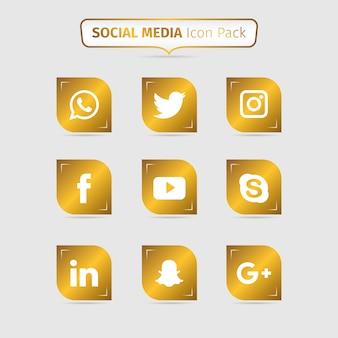 Golden pacote de ícones de mídia social