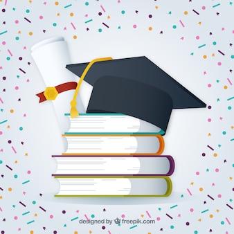 Graduação, fundo, confetti