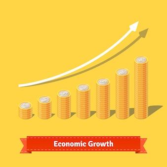 Gráfico de crescimento das moedas empilhadas. Conceito de receita crescente