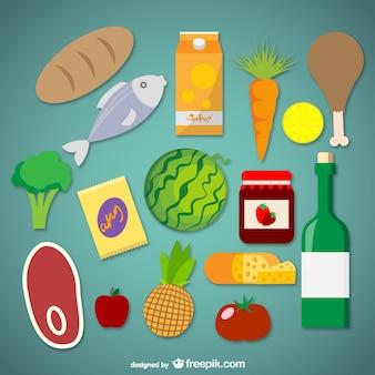Gráficos vetoriais alimentos supermercado
