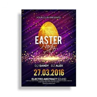 Grande cartaz do partido com ovo de páscoa brilhante