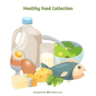Grande coleção de diferentes produtos saudáveis