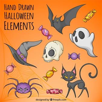 Grande coleção de elementos de Halloween desenhados à mão