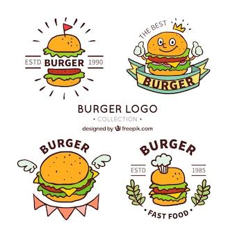 Grande coleção de logotipos de hambúrguer em estilo desenhado à mão