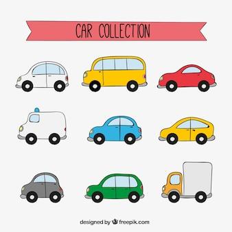 Grande coleção de veículos desenhados à mão