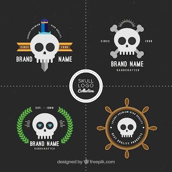 Grande coleção do logotipo do crânio com detalhes da cor