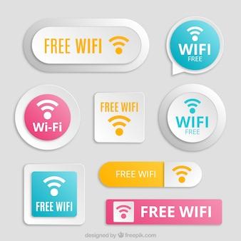Grande conjunto de botões wifi