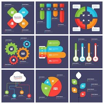 Grande conjunto de elementos infográficos criativos para negócios.