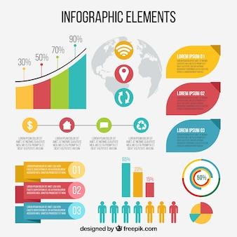 Grande conjunto de elementos infográficos decorativos