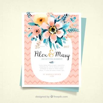Grande convite do casamento com flores da aguarela