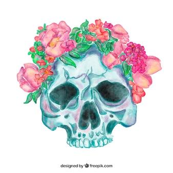 Grande crânio com flores da aguarela em tons de rosa
