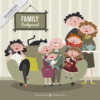 Grande família feliz e unida no estilo do vintage