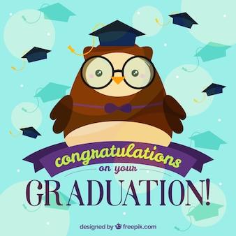 Grande fundo da graduação com coruja