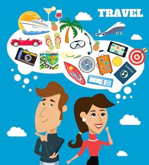 Grande fundo do homem e da mulher que pensa sobre as suas férias