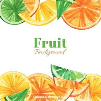 Grande, fundo, fruta, fatias, aguarela, estilo