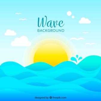 Grande, fundo, sol, ondas
