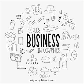 Grande infográfico negócios com desenhos