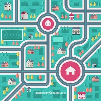 Grande mapa da cidade no design plano