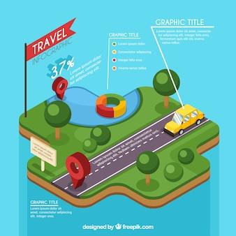 Grande molde do infográfico viagens isométrica