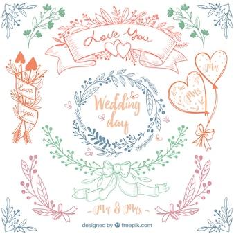 Grande pacote de quatro quadros de casamento floral desenhado mão
