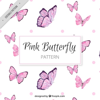 Grande padrão de borboletas cor de rosa