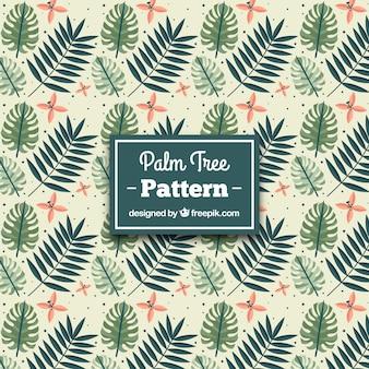 Grande padrão de flores e palmeiras