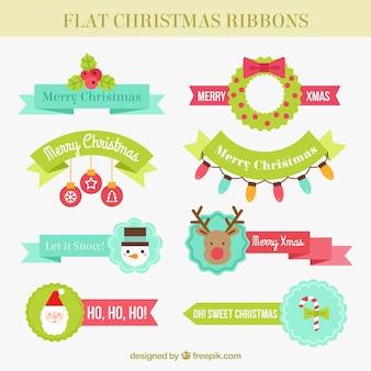 Grande seleção de fitas do Natal no estilo plana