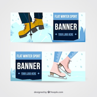 Grandes bandeiras com desportos de Inverno fantásticas