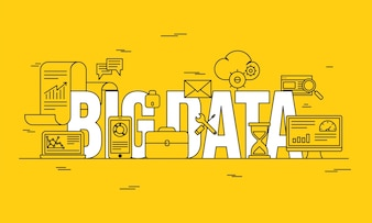 Grandes dados, alogoritmos de máquinas, segurança de conceito de análise e conceito de segurança. Fin-tech (tecnologia financeira) de fundo. Ilustração de Lineart em fundo amarelo.