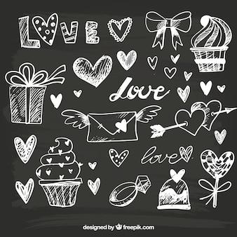 Grandes objetos desenhados à mão para Dia dos Namorados