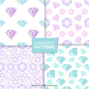 Grandes padrões com azul e rosa pedras preciosas