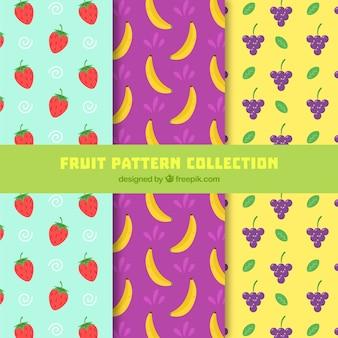 Grandes padrões com frutas planas