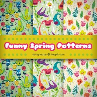 Grandes padrões com personagens engraçados para a primavera
