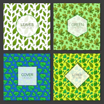 Green leaves pattern background collection