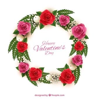 Grinalda bonita com flores vermelhas e rosas para o Dia dos Namorados
