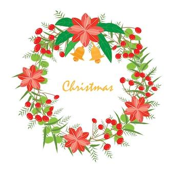 Grinalda dos chrismas e do ano novo. A coroa de flores com hortênsia vermelha, viburnum opulus, folha e dois sino é vetor para objeto, quadro e cartão. O objeto é a coleção para natal e ano novo. O vetor não é rastrear ou copiar imagem.