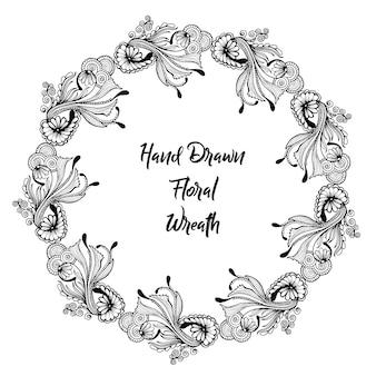 Grinalda floral desenhada à mão
