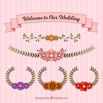 Grinaldas de casamento e fita