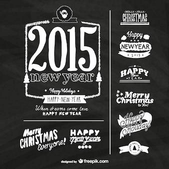 Grunge etiquetas do ano novo com textura negro