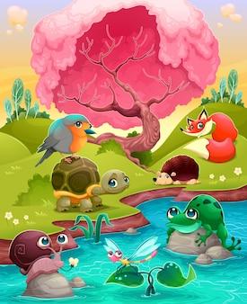 Grupo de animais bonitos no campo Ilustração vetorial de desenhos animados