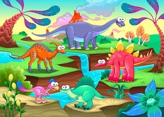 Grupo de engraçados dinossauros em uma paisagem pré-histórica Cartoon ilustração vetorial