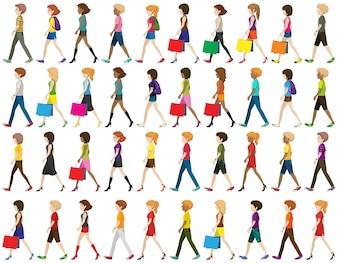 Grupo de pessoas sem rosto caminhando sobre um fundo branco