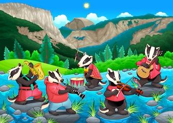 Grupo de texugos engraçados estão jogando música Vector cartoon illustration