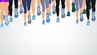 Grupo ou executando pessoas pernas traseiras vista ilustração vetorial de fundo