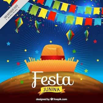 guirlandas coloridas com fundo chapéu de festa junina