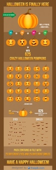 Halloween abóboras sorrisos e olhos