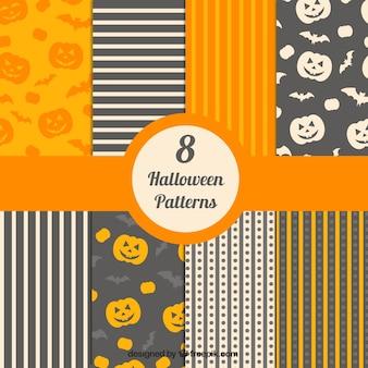 Halloween coleção padrões decorativos